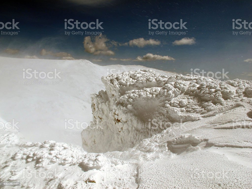 Rime, Snow, Ice, Rock, and Wind stock photo