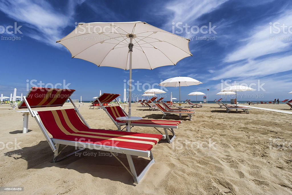 Rimini and Riccione beach. Emilia Romagna, Italy royalty-free stock photo