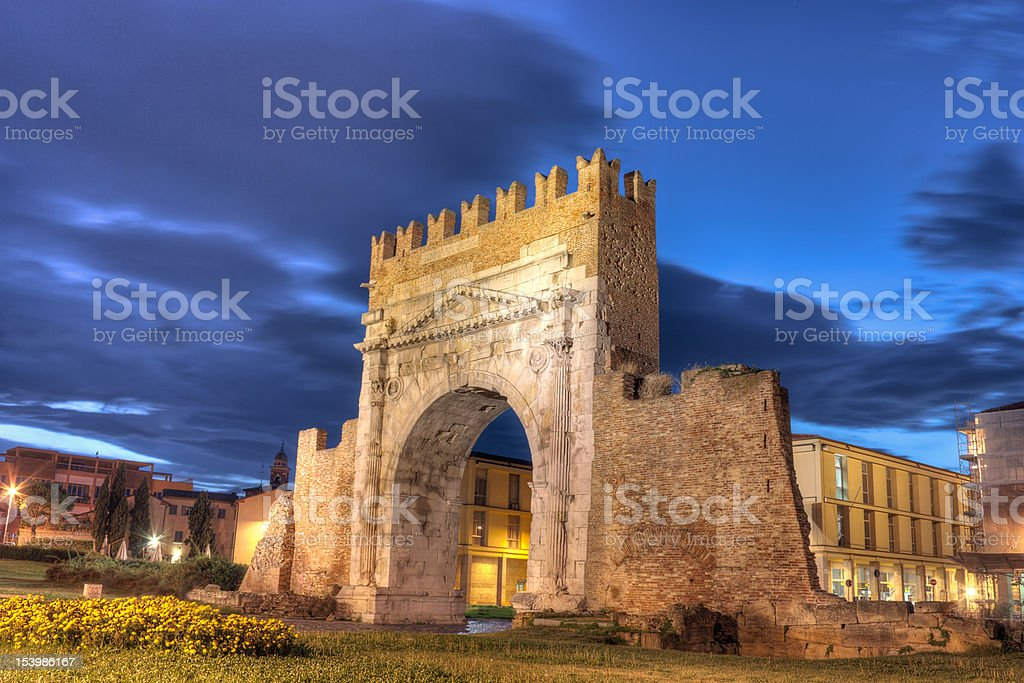 Rimini, the arch of Augustus stock photo