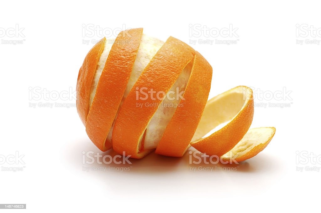 Rind  of orange cutaway in spiral shape stock photo