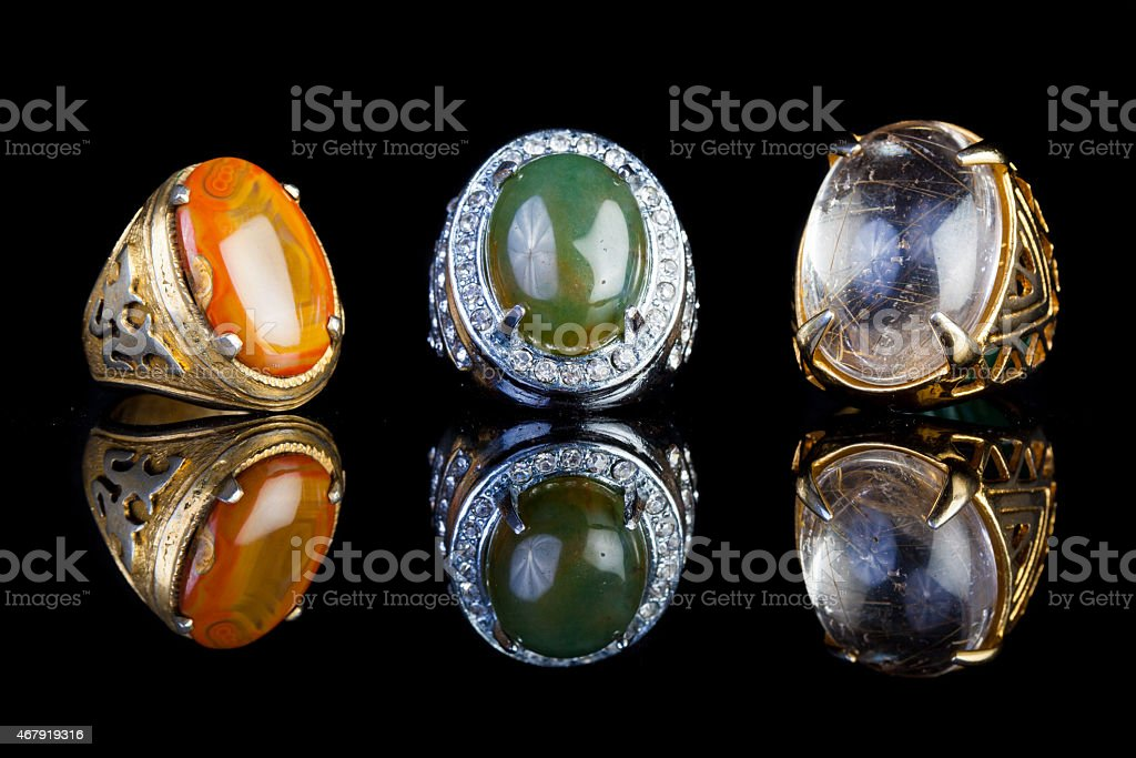 Ring Agate Jewelry with black background stock photo