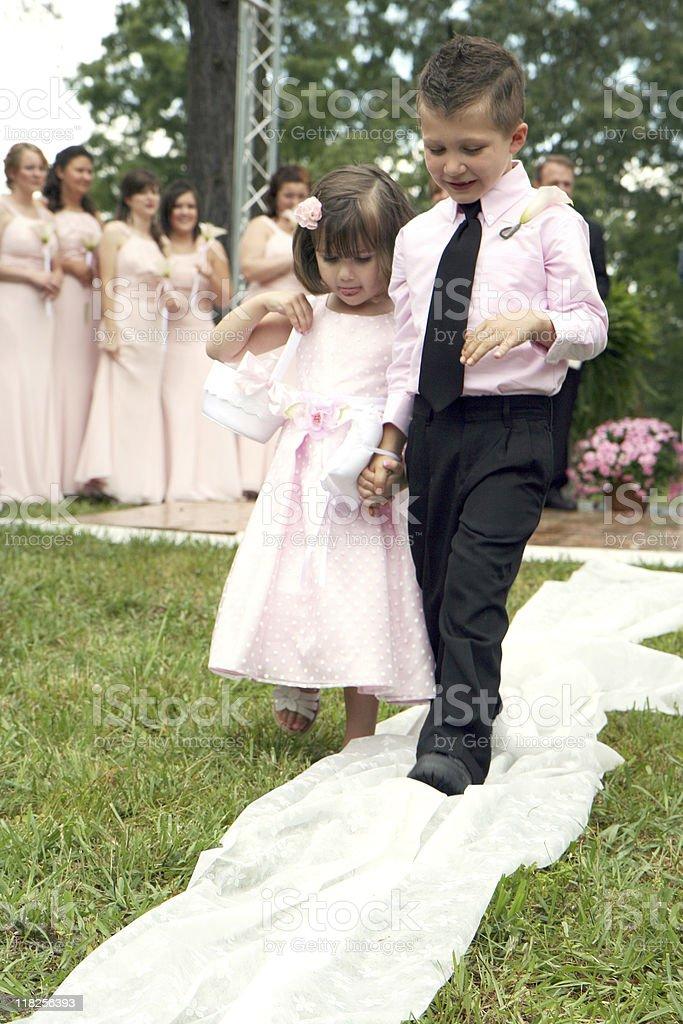 Ring bearer and flower girl stock photo