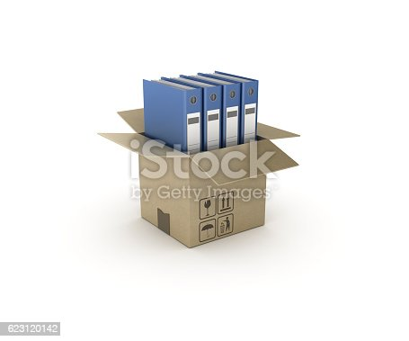 istock Ring Binders and Open CardBoard Box - 3D Rendering 623120142