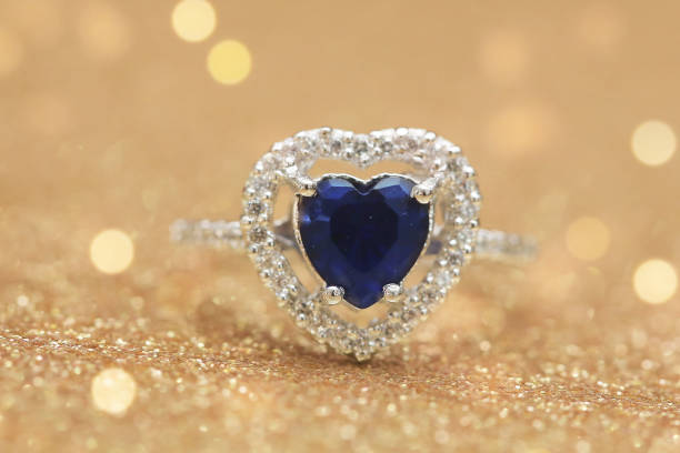 Cтоковое фото ring blue gemstone heart,Love Valentine day