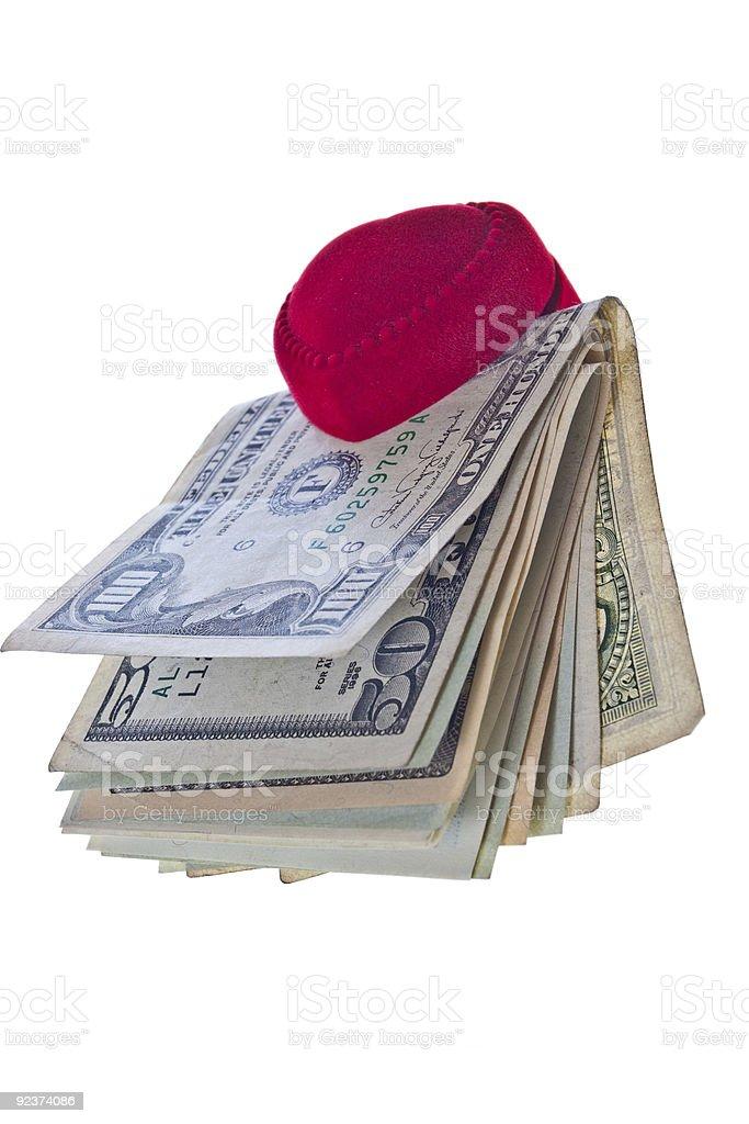 Ring box and money royalty-free stock photo
