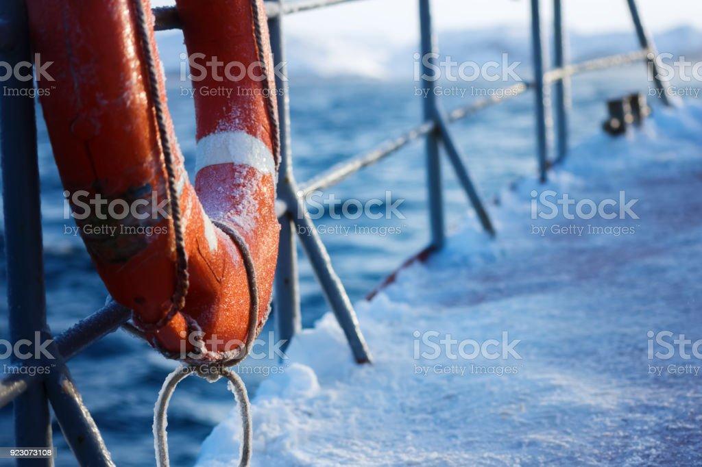 Ring buoy / Lifebuoy in ship at Barents sea at winter. Arctic Ocean - foto stock