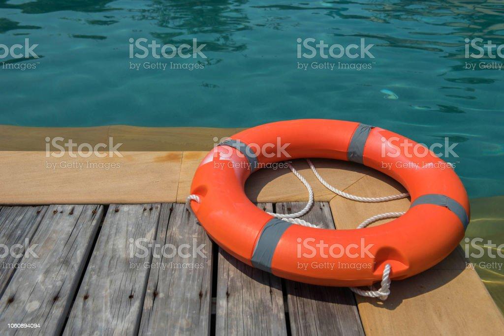 Ring buoy swimming pool. stock photo