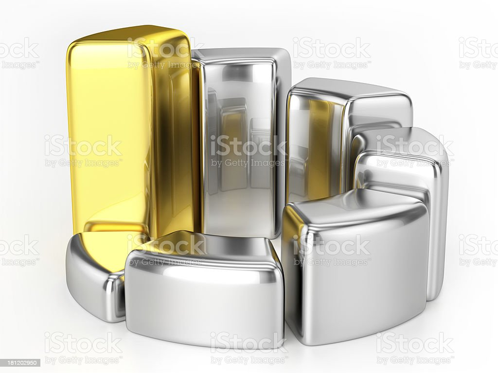Ring Chart (Silver and Gold) stock photo