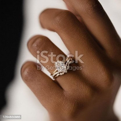Close Up woman hands with Diamond Ring