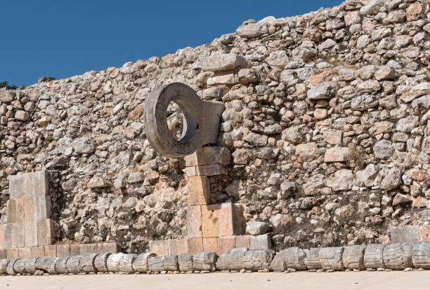 ring for ball games at the outer wall of the mayan ruins city of uxmal - yucatan, mexico - uxmal stock photos and pictures