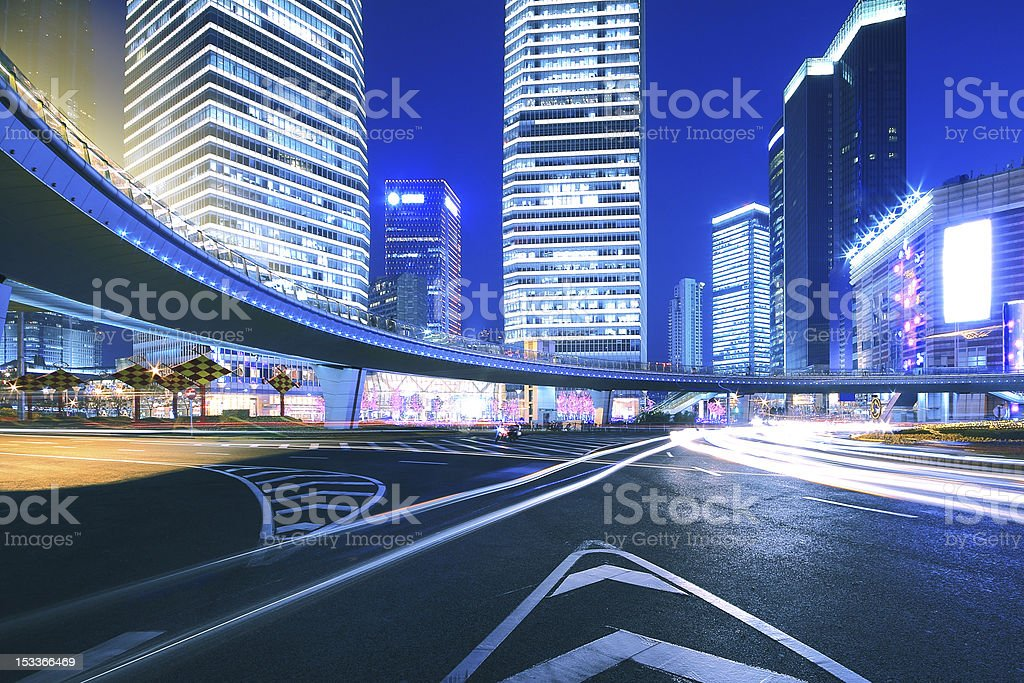 Ring Highway at night with light trails in shanghai royalty-free stock photo