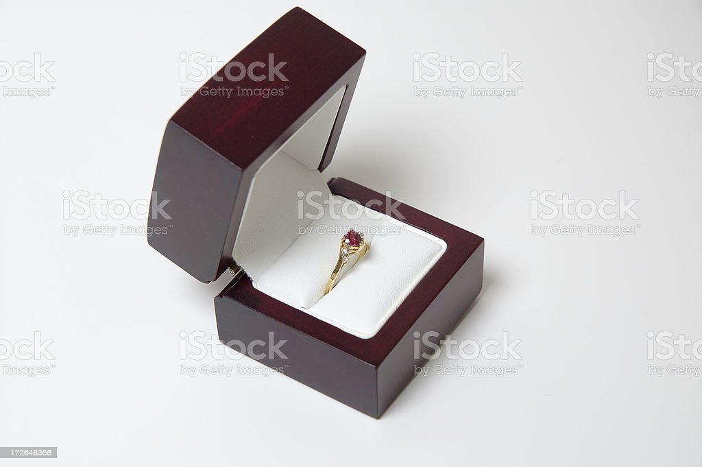 Ring in a wood box royalty-free stock photo