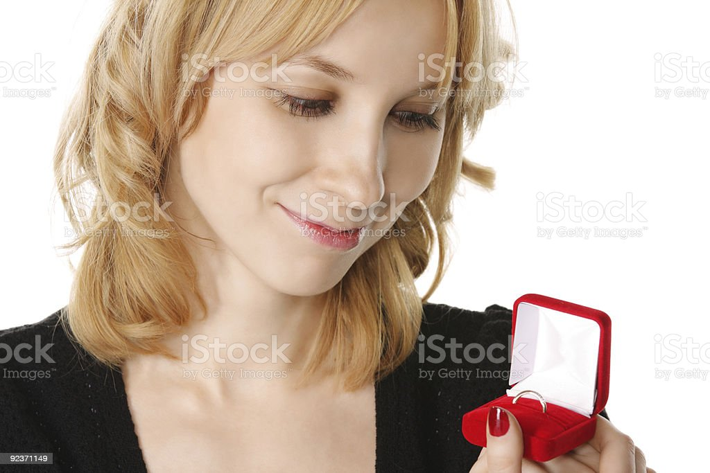 Ring in blondes hand royalty-free stock photo