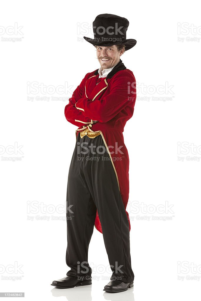 Ring master posing with arms crossed stock photo