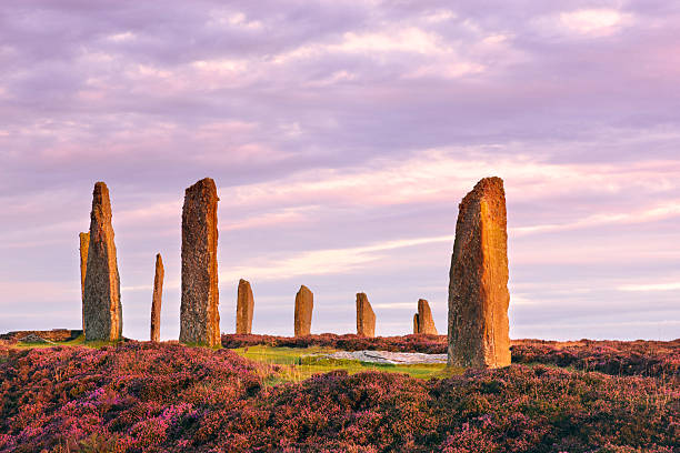 Ring Of Brodgar, Orkney The ancient standing stones of the Ring of Brodgar in the Orkney Islands off the north coast of Scotland, in the early morning just at sunrise. This monument in the heart of the Neolithic Orkney World Heritage Site is believed to have been built between 4000 and 4500 years ago. Originally built with sixty stones in a circle over 100 metres (over 100 yards) across, fewer than half of the stones still stand. The tallest of the stones is a little over 4.5 metres (15 feet) tall. theasis stock pictures, royalty-free photos & images
