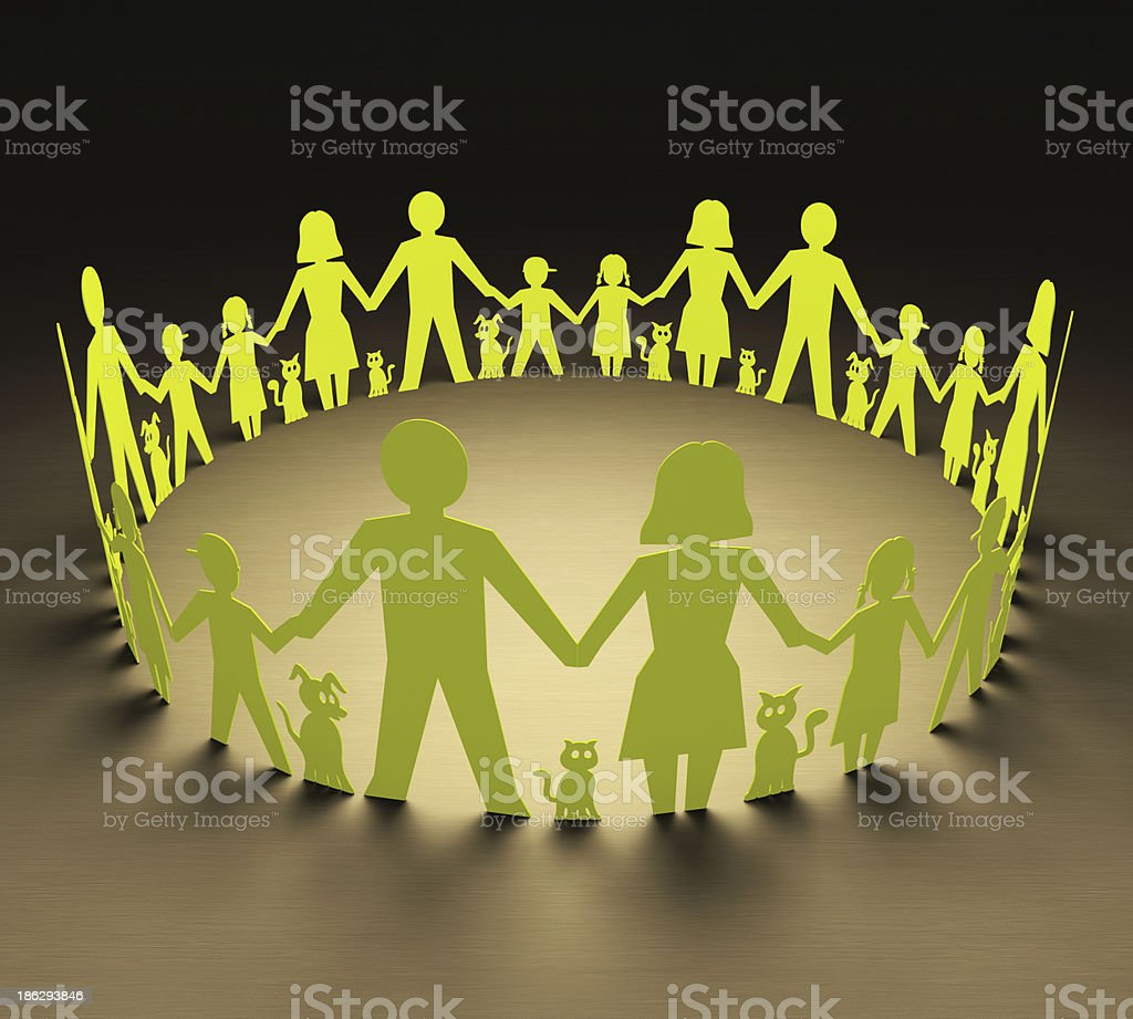 Ring of cutout figures family in green with pets stock photo