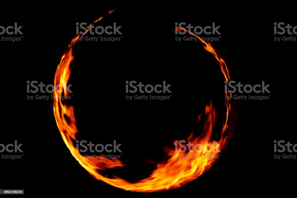 ring of flame fire in black background stock photo