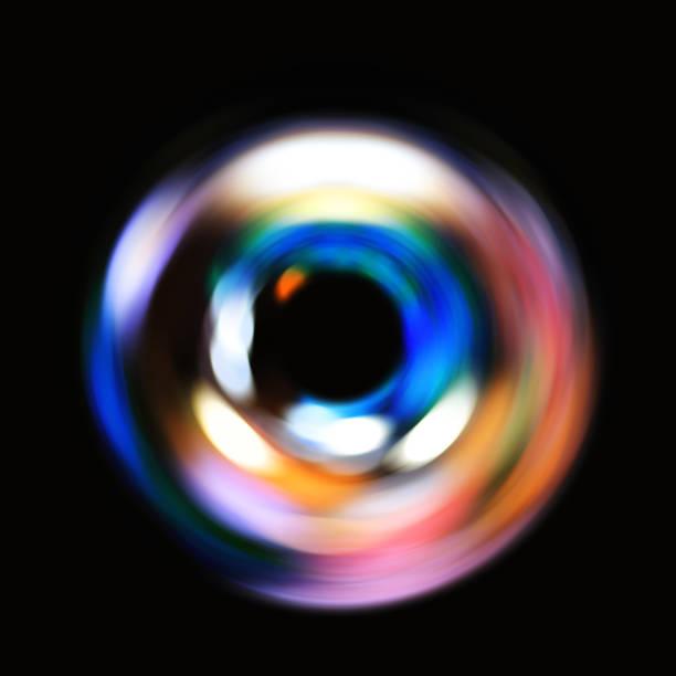 光のリング。回転と循環。カラフルな抽象的な背景。 ストックフォト