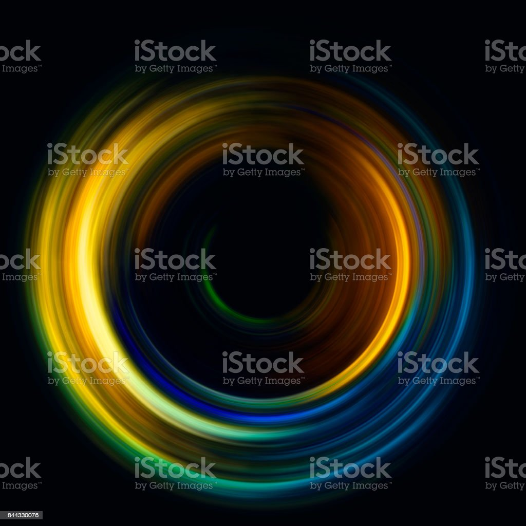 ring of light. rotation and circulation. colorful abstract background. stock photo