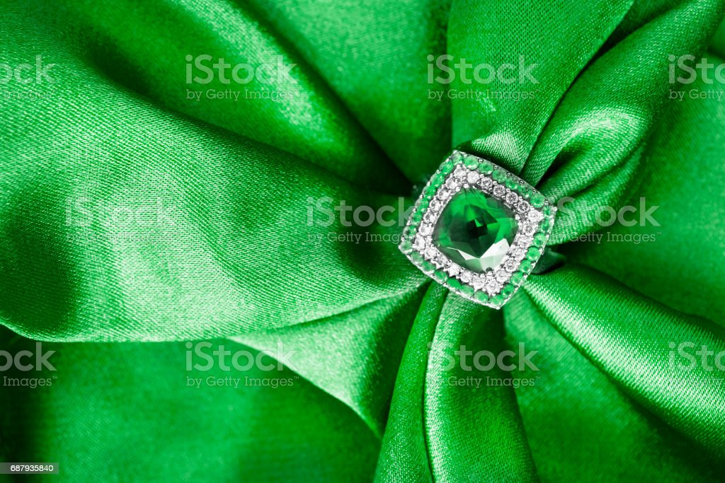 Ring on satin stock photo