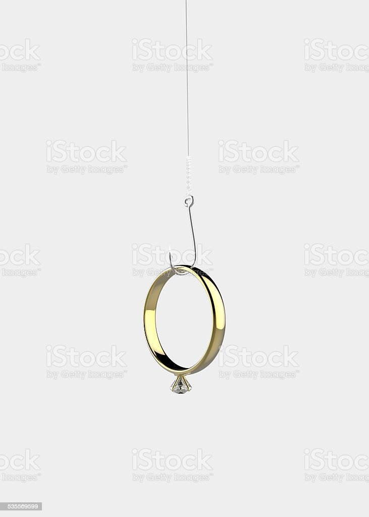 Ring on the hook stock photo