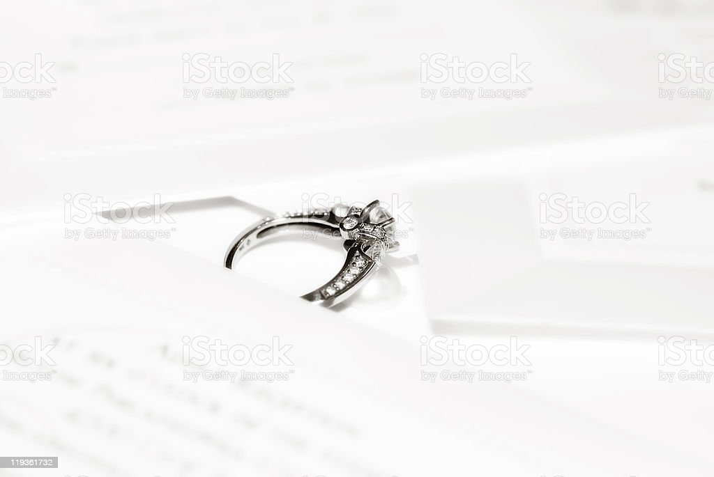Ring on Wedding Invitations royalty-free stock photo