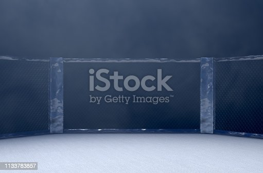 A 3D render of an MMA fight cage arena dressed in black padding spotlit by a single light on an isolated dark background - 3D render