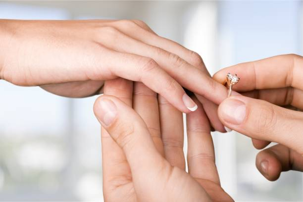 Ring. Close up Groom Putting the Wedding Ring on bride's finger engagement ring stock pictures, royalty-free photos & images