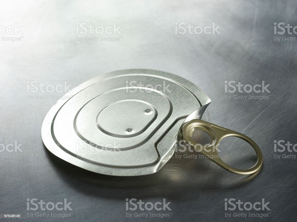 Ring Pull Lid on Metal Surface royalty-free stock photo