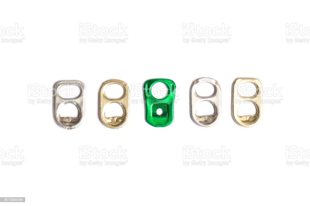 Ring pull of aluminum on white background stock photo