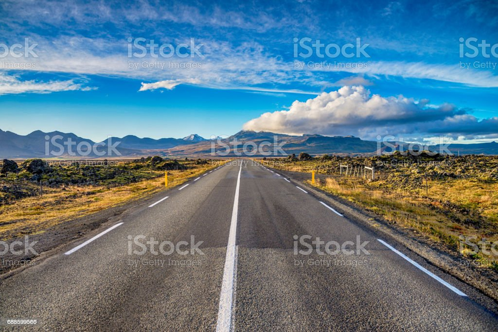 Ring road (number 1) of Iceland stock photo