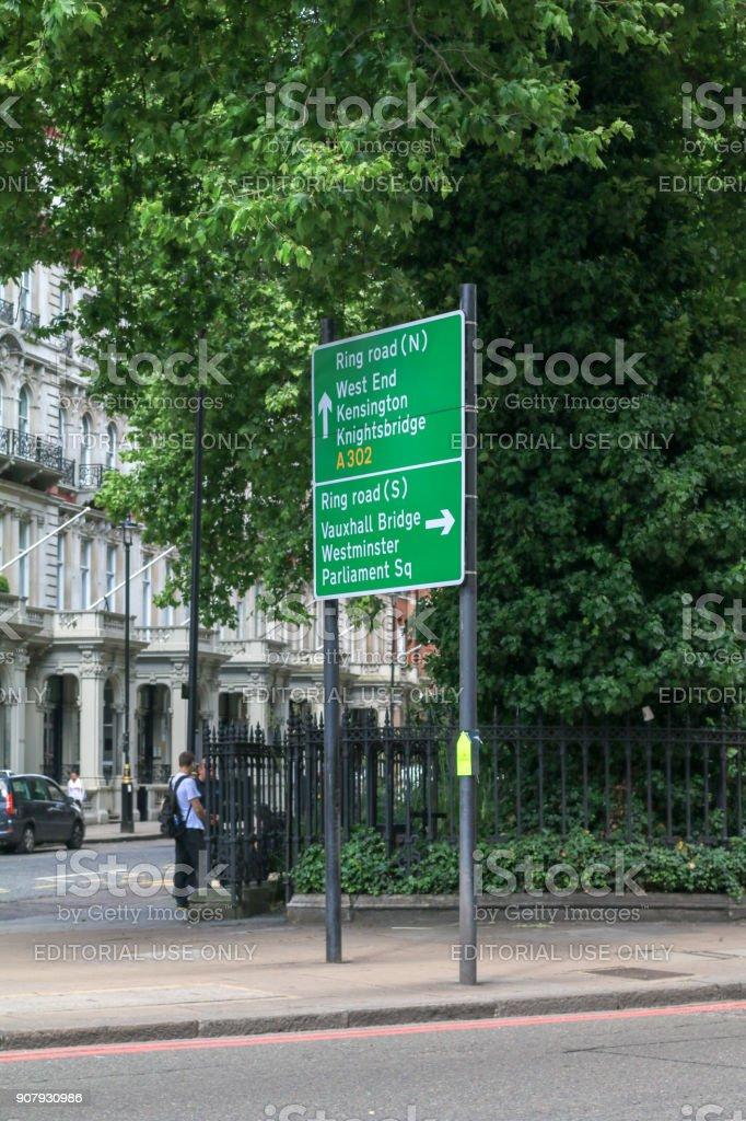 Ring Road Sign in Belgravia, London stock photo