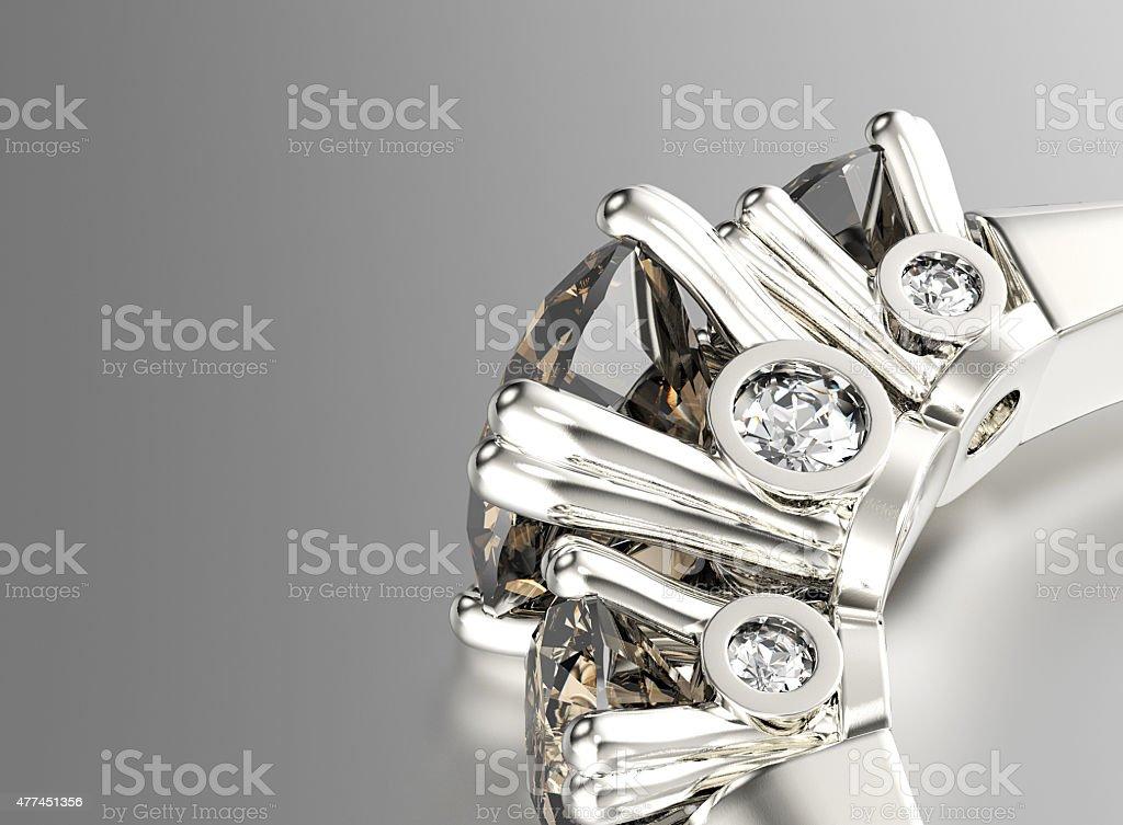 Bague avec Diamant.   Fond de bijoux - Photo