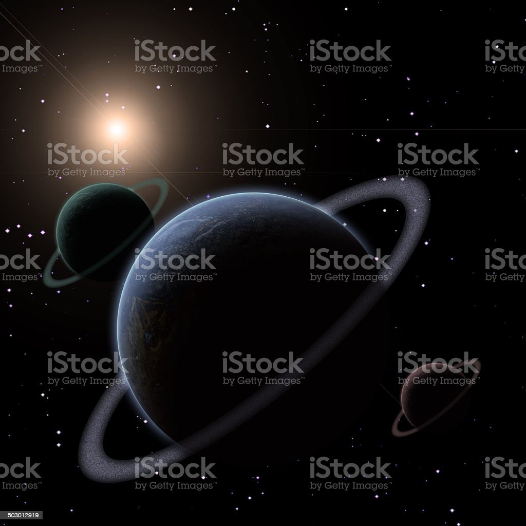 Ringed Planets royalty-free stock photo
