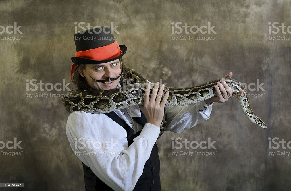 Ringmaster with Tiger Python stock photo