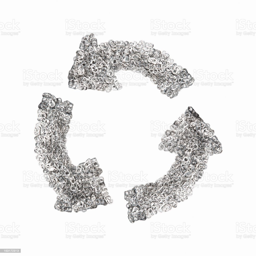 Ring-pulls on the shape of a recycling symbol stock photo