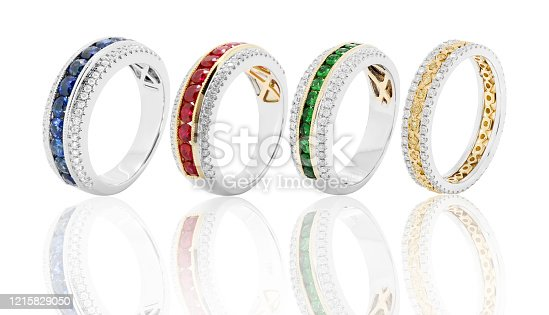 rings bands and jewelry with diamonds and gemstones emerald ruby and sapphire