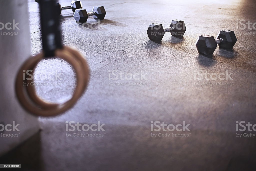 Rings dumbbells gym box - Royalty-free Boxing Ring Stock Photo