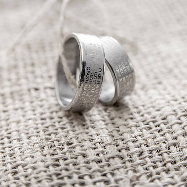 Rings Engraved With The Lords Prayer In Serbian stock photo