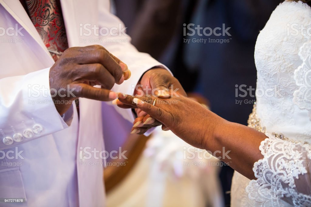 Rings Exchange For Black Couple Marriage Stock Photo More Pictures