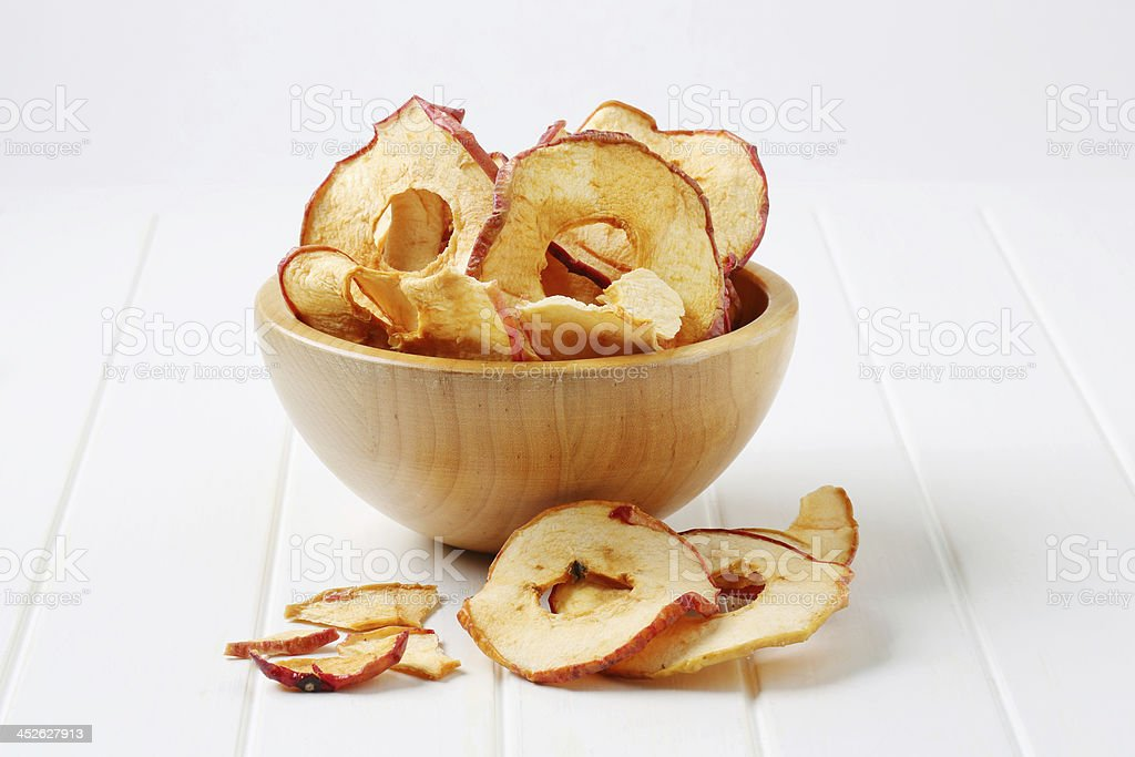 Rings of dried apple stock photo