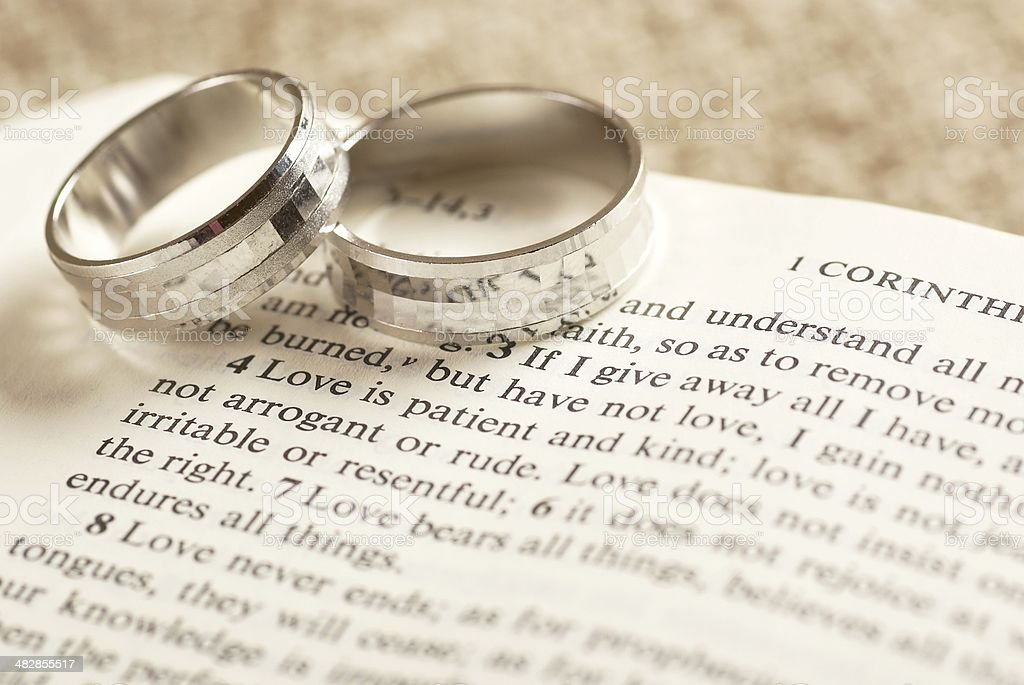 Rings on Bible royalty-free stock photo