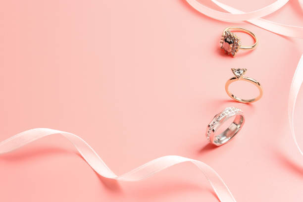 rings on pink stock photo