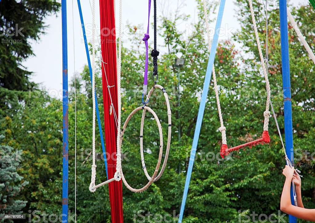 Rings, swings and ropes in a park stock photo