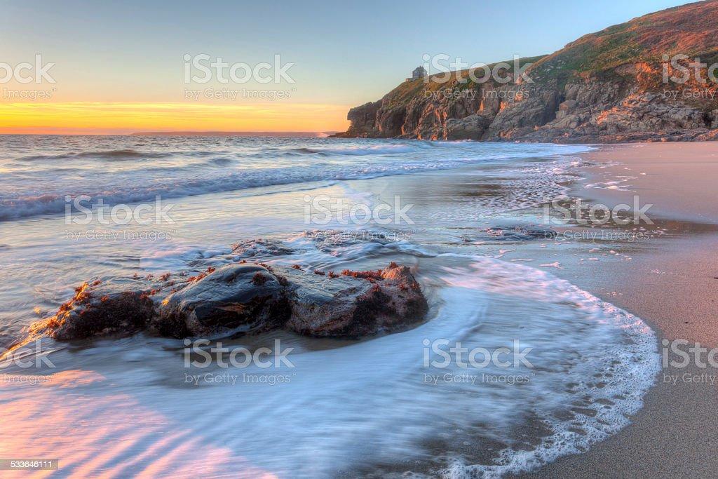 Rinsey Beach Porthcew Cornwall stock photo