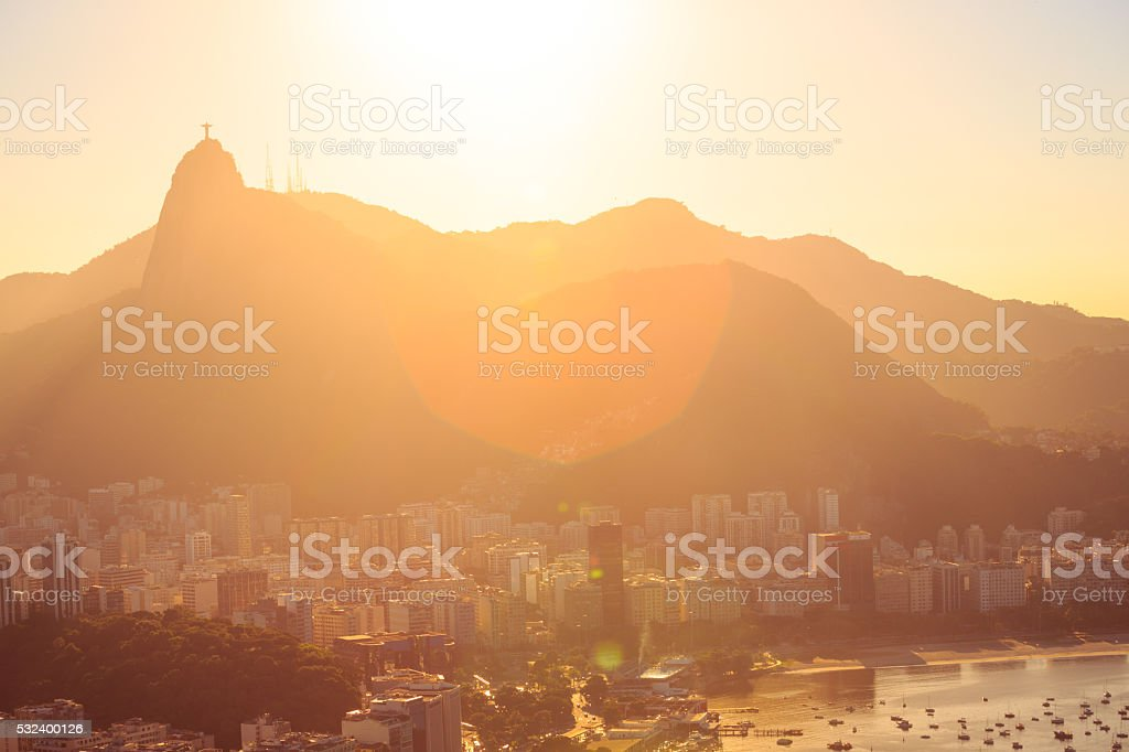 Rio abstract evening view stock photo