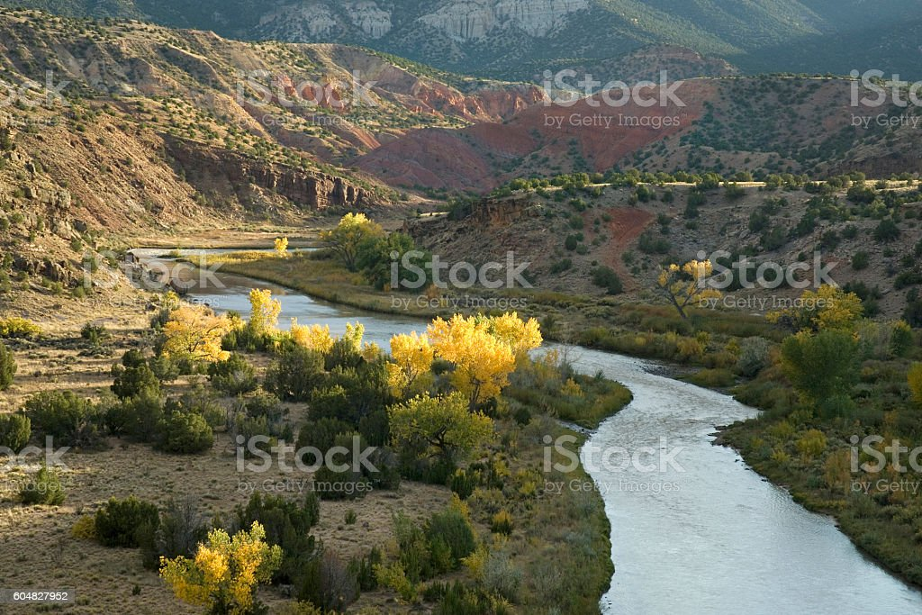 Rio Chama River during fall stock photo