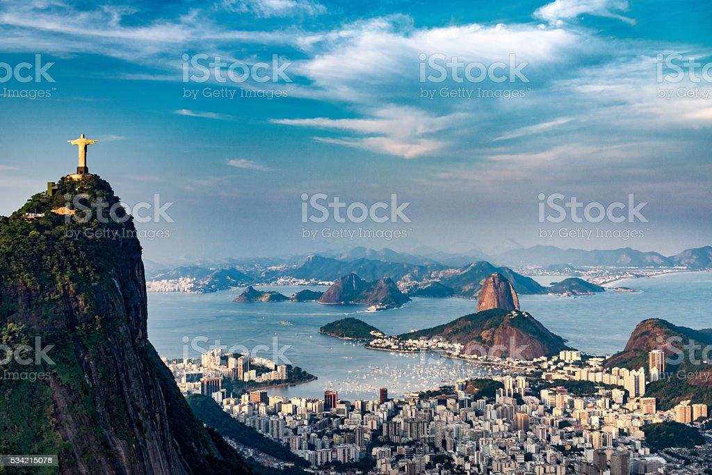 Aerial view of Rio De Janeiro. Corcovado mountain with statue of...