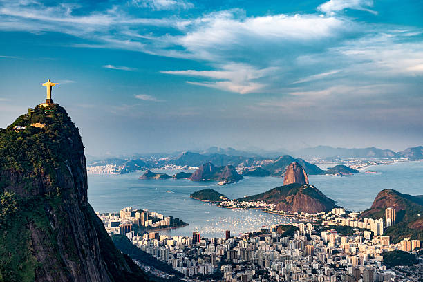 rio de janeiro aerial - south america travel stock photos and pictures