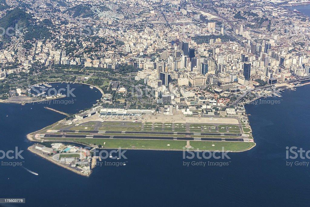 Rio de Janeiro airport and downtown stock photo